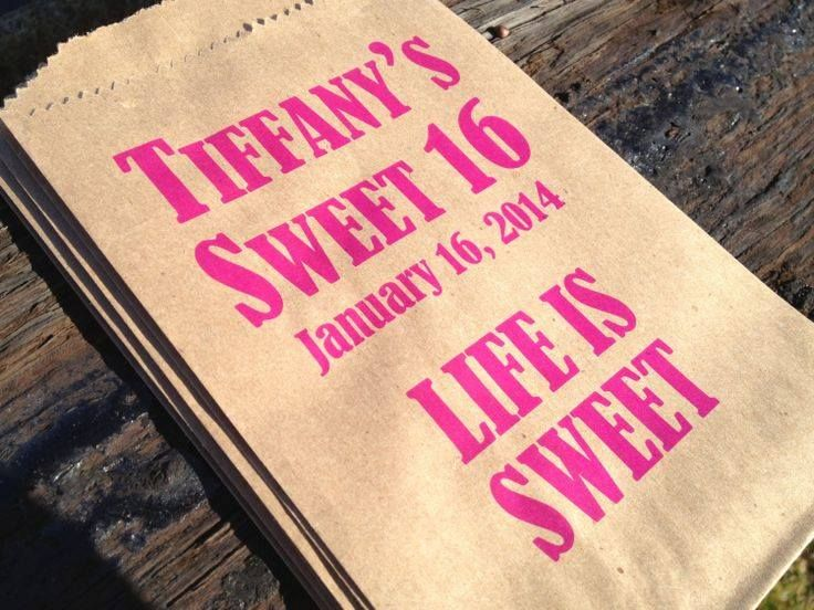 Personalized Sweet 16 candy bar bags!