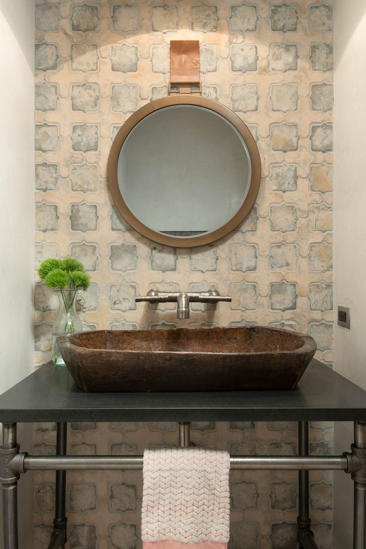 Rustic master bathroom with log walls amp undermount sink zillow digs - Yonder Farm