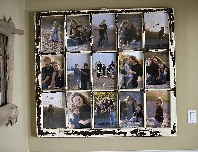 Turn an old window into a photo frame! Such a smart idea! Plus looks great in your home! via dishfunctional designs Old Salvaged Windows upcycled recycled DIY photo frame home decor from old window