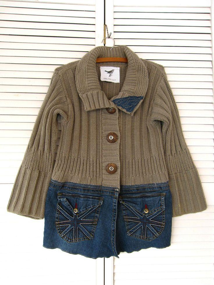 Jacket upcycled clothing Funky denim sweater