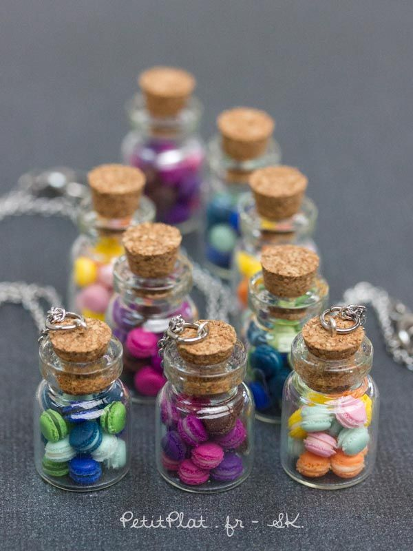 Miniature macarons in a glass jar necklace, Stéphanie Kilgast, PetitPlat Food Art