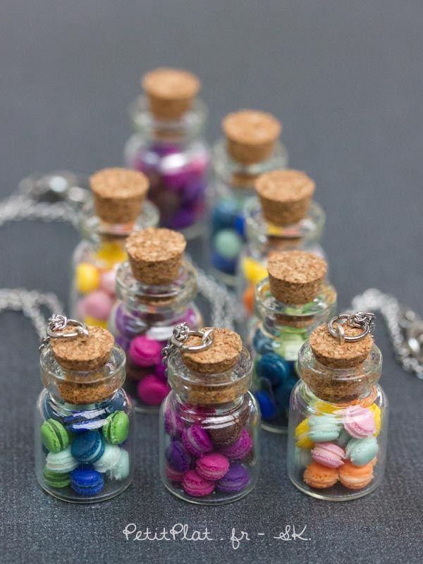 Miniature macarons in a glass jar necklace, Stéphanie Kilgast, PetitPlat Food…