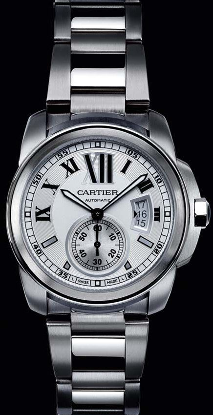 Cartier Calibre Watch... Love how solid & silver this looks!!