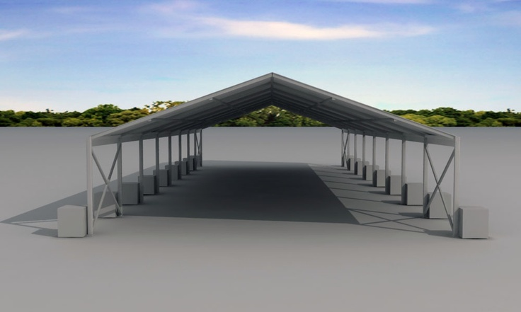 This Shade Structure is a Splash Marquee without side walls, used commonly as Aircraft Hangars, Storage Sheds and Working Areas.  This one is for portable needs, it has concrete blocks holding the structure down to ground.  Excellent for leaving a Zero Foot Print.