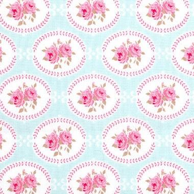TILDA ' Flower Garden ' Oval Rose Teal Floral Quilt Craft Fabric Fat Quarter