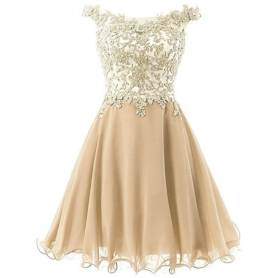 2016 Straps Lace Homecoming Dress, Bodice Short Prom Gown , Gold Tulle Party…