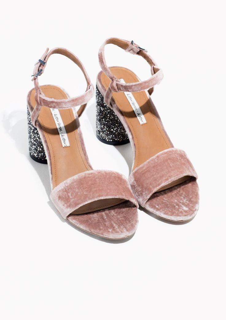 & Other Stories image 2 of Velvet Sequin Heel Sandalette in Pink