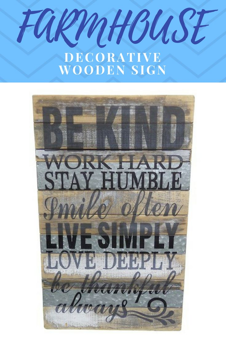 Farmhouse Decorative Wooden Sign This sign would look great in your entrance way or in your home office! #affiliate, #sign, #homedecor, #homedecoration, #bekind, #woodensign