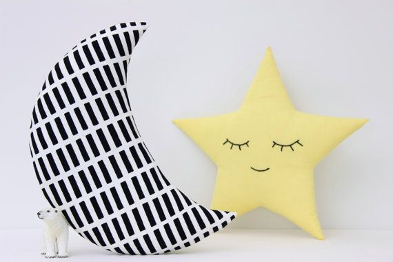Set of two handmade decorative pillows - black and white moon and yellow star with embroidered sleeping face.  Fabric 100% cotton on both sides of