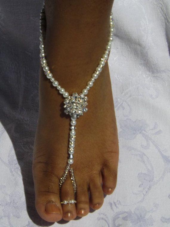 Swarovski Bridal Jewelry Barefoot Sandles Rhinestone Foot Jewelry Beach Wedding Sandals Wedding Anklet  Barefoot Sandals