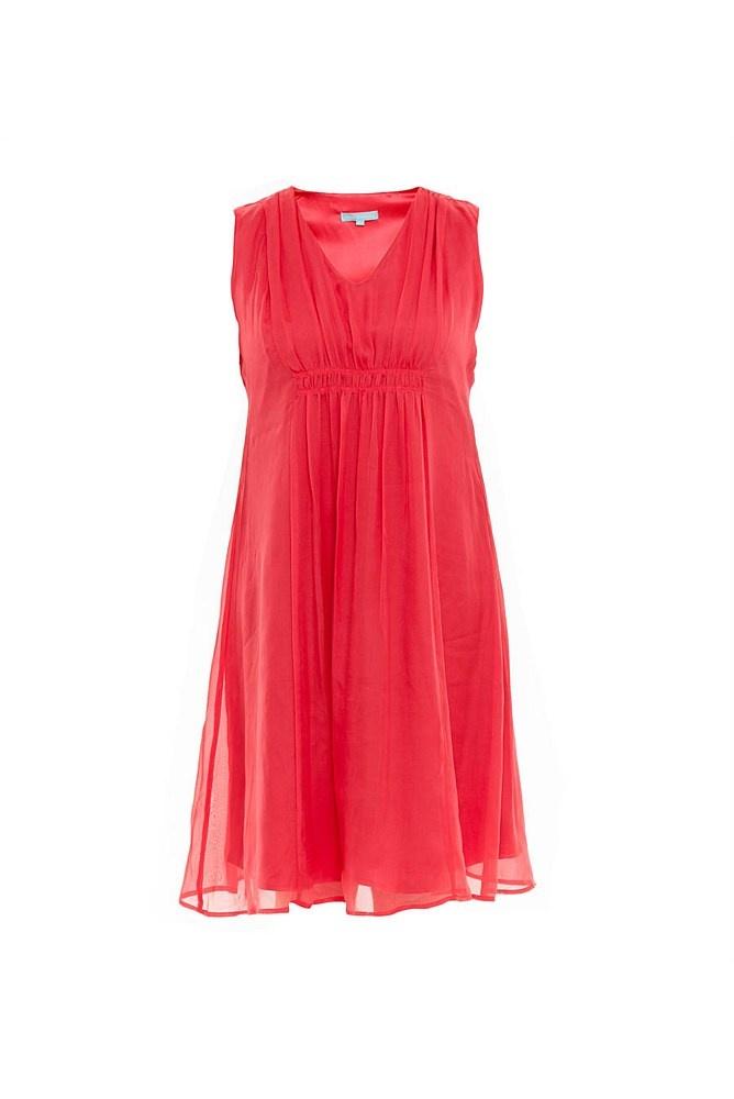 Gathered Silk Dress - Women's Dresses, Kaftans - Women's Clothing