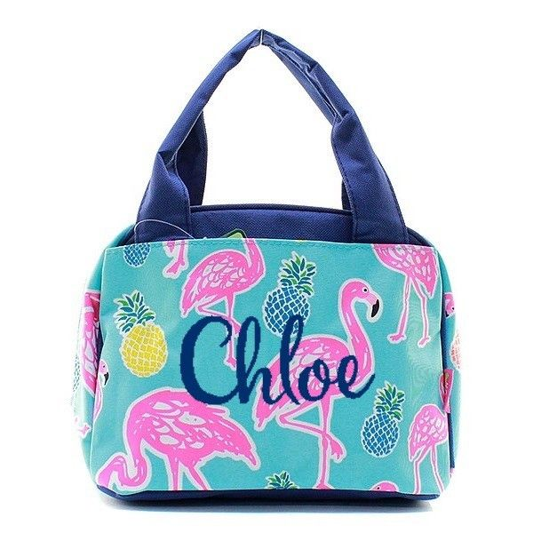Personalized Mint & Pink Flamingo Insulated Lunch Bag - Navy