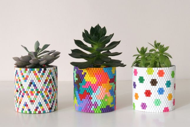 DIY Perler bead planters for your home.