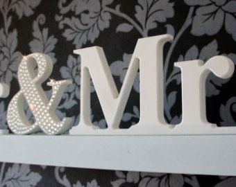 Herr  Frau Hochzeit Briefe / Wedding Zeichen / Hochzeit-Dekoration - Zeiten Schrift mit Strass kaufmännisches und 15cm hoch