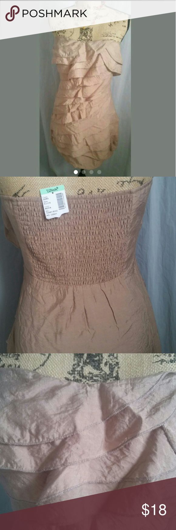 Silky Ruffled Strapless Minidress NWT So lovely and simple! Strapless minidress by Papaya in tan rayon.  Diagonal ruffles all along the front. Side zip.  Back has elastic for added support.  Size L.  So many possibilities for this neutral party dress! Brand new with tags! Papaya Dresses Mini