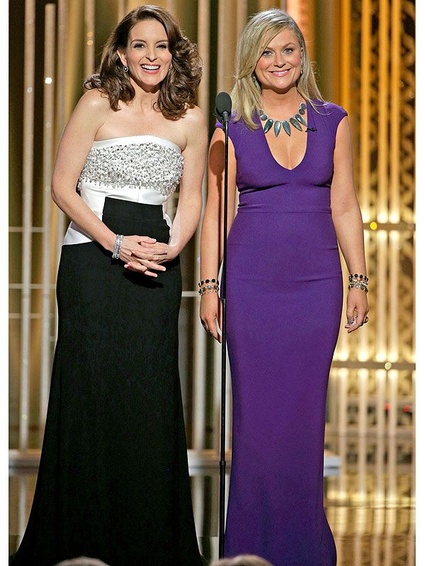 Golden Globes 2015 - Tina Fey and Amy Poehler (wearing my favorite purple gown with Irene Neuwirth necklace and earrings) - People StyleWatch