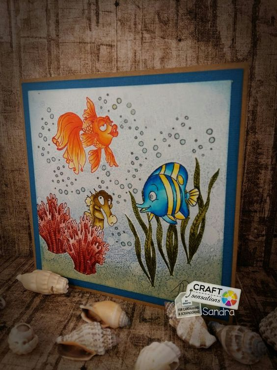 Toen ik de stempel set met de visjes kreeg was ik opslag verliefd, wat zijn die toch leuk. Je kunt er gewoon een heel leuk tafereel mee m...