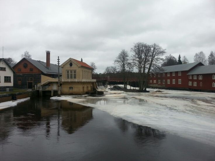 Old dam in the early spring in Finland.