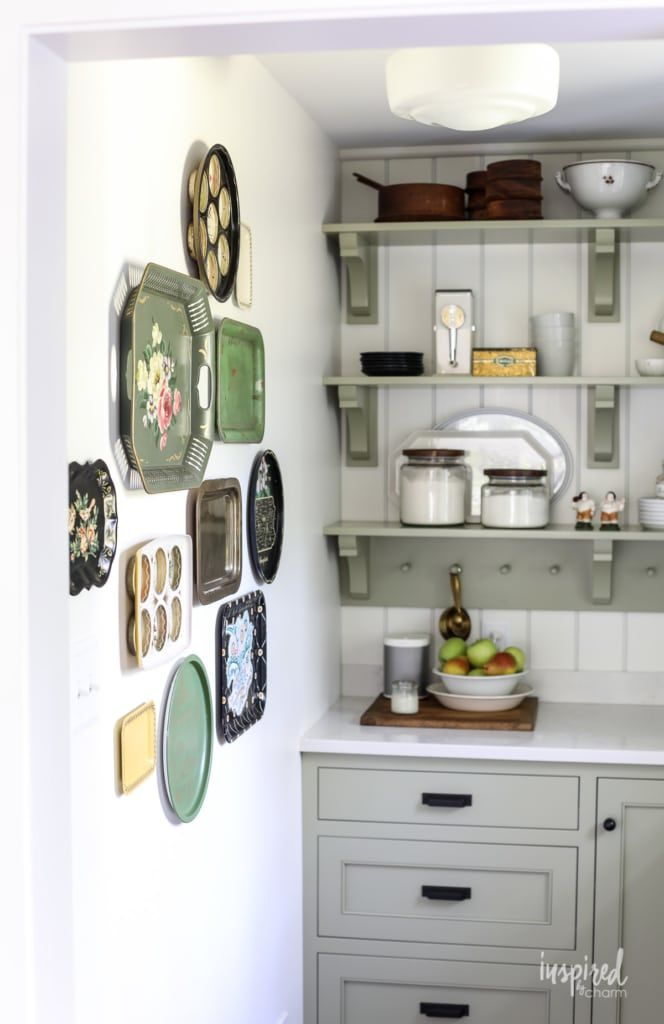 Vintage Metal Tray Gallery Wall Kitchen Decor Wall Decorating Idea Gallery Wal In 2021 Kitchen Wall Decor Vintage Kitchen Gallery Wall Modern Kitchen Wall Decor