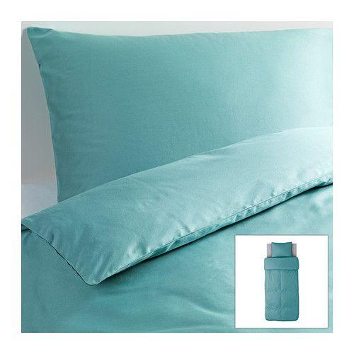IKEA - GÄSPA, Dekbedovertrek met 1 sloop, 140x200/60x70 cm, , Beddengoed van satijngeweven katoen is erg zacht en biedt een aangenaam slaapcomfort. Door de uitgesproken glans ziet het er prachtig uit op je bed.Het gekamde katoen maakt het beddengoed extra zacht en glad, en dat voelt lekker aan tegen de huid.Door de blinde drukknopen blijft het dekbed op zijn plaats.