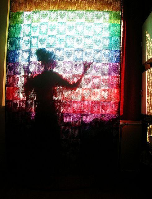 Rainbow Hearts Filet Crochet Afghan / Curtain #crochet #blanket #afghan #rainbow #heart #curtain