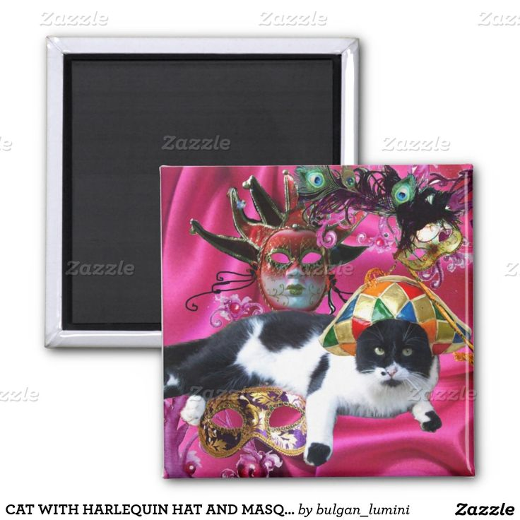 CAT WITH HARLEQUIN HAT AND MASQUERADE PARTY MASKS 2 INCH SQUARE MAGNET