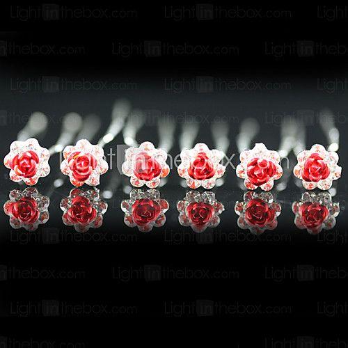 hoofddeksels bruiloft hoofd pinnen 6 stuks prachtige strass / bloemen meer kleuren beschikbaar - USD $ 4.99