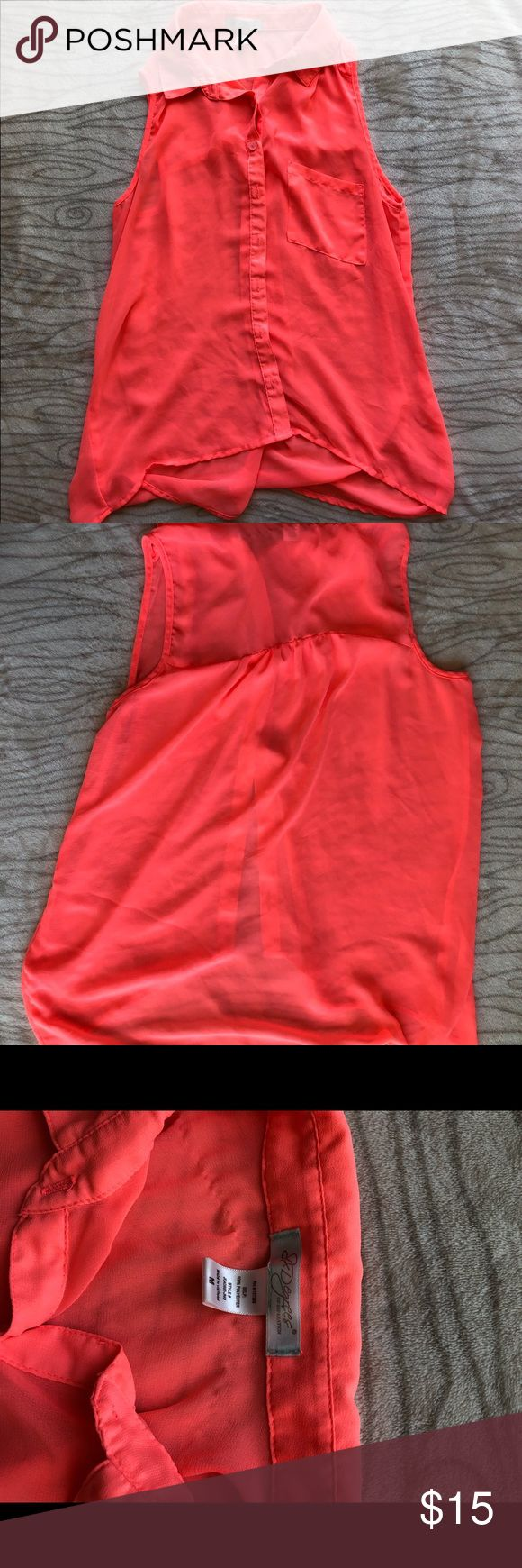 Sheer Neon sleeveless top- high-low style Sheer, orange neon top. Sleeveless, button down. High-low style. Great for summer and a pair of leggings! Worn once, sticking issue shown in last picture. Tops Button Down Shirts