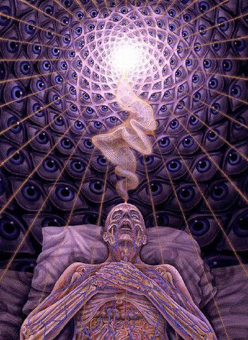 Alex Grey. Dying. Oil on linen, 1990.