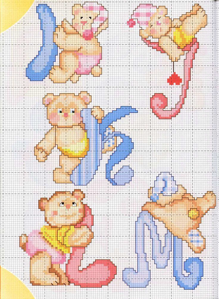 alfabeto teneri orsetti (2) - magiedifilo.it punto croce uncinetto schemi gratis hobby creativi