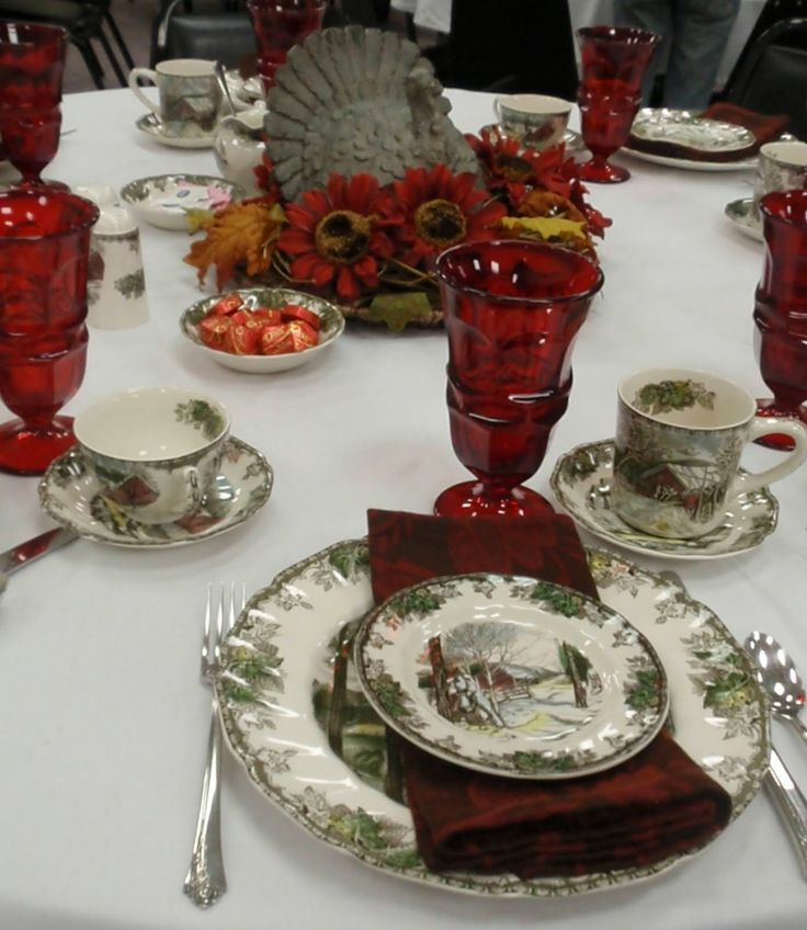 Tablescapes with Friendly Village dishes | ... used the Friendly Village dishes with my Fostoria Argus red glassware