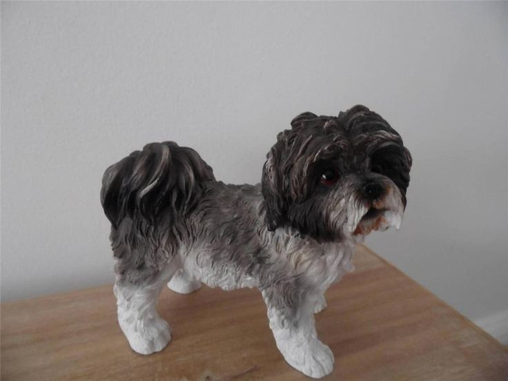 GORGEOUS GREY/BLACK AND WHITE SHIH TZU  ORNAMENT IDEAL CHRISTMAS GIFT