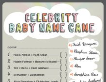 Celebrity Baby Names Baby Shower Game