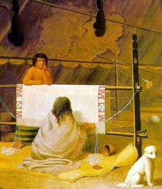 Clallam woman weaving, 1848.  Painting by Paul Kane (Royal Ontario Museum)  --oo-- Link is to Coast Salish history page