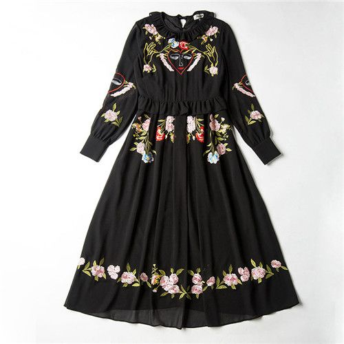 runway long sleeves vintage flower embroidery black flare dress 2016 women's high quality luxury dresses ruffle spring 2017