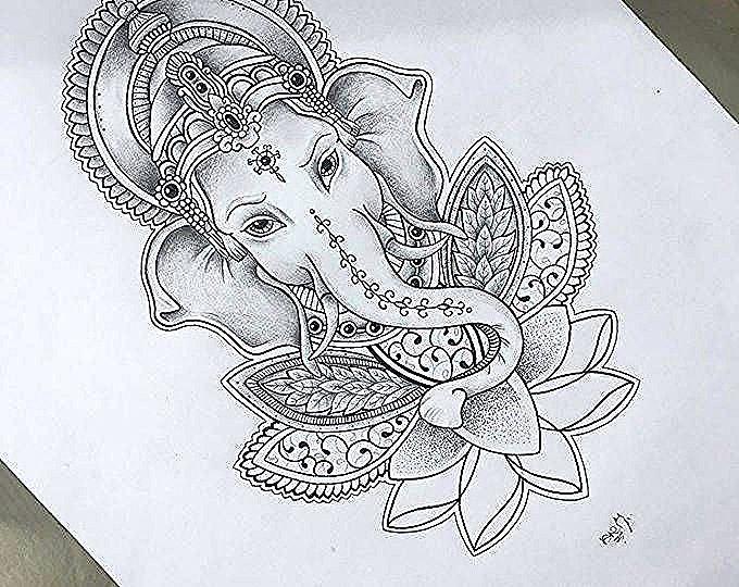 Ganesha In Lotus Mandala Ganesha Tattoo Elephant Tattoos Elephant Wall Decals