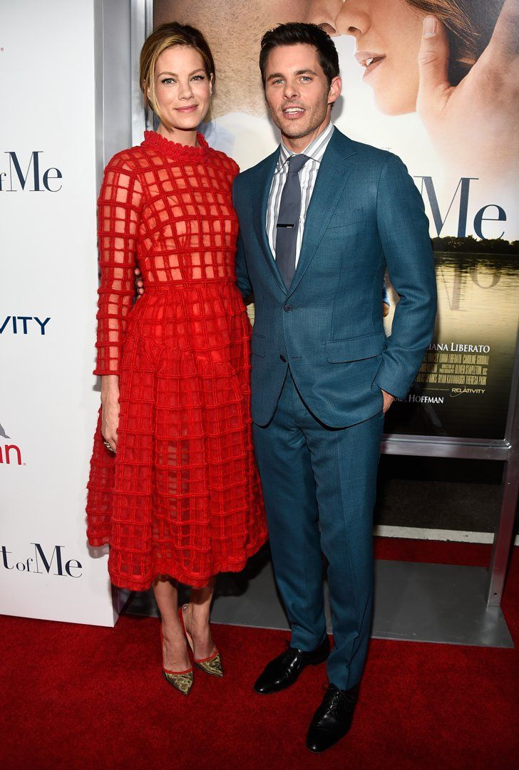 Pin for Later: It May Be Fall, But You Wouldn't Know It Judging From These Stars' Outfits Michelle Monaghan and James Marsden Michelle Monaghan, in Simone Rocha, and James Marsden, in Thom Sweeney, at the premiere of The Best Of Me.