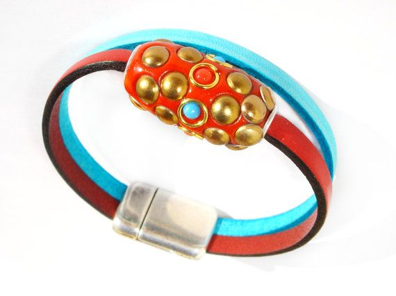 Turquoise and Red Leather Bracelet  Kashmir Bead  by ScrapCati, $29.00