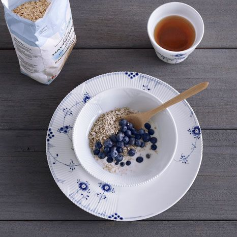 Healthy breakfast on Blue and white Elements by Royal Copenhagen