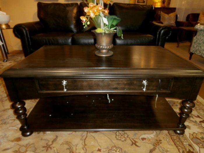 Dark Coffee Stained Cocktail Table Will Silver Pulls. Measures 47 X 27 X 21.