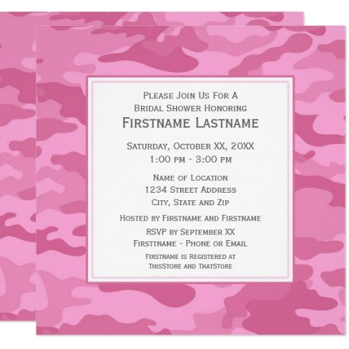 Pink Camo Bridal Shower or Engagement Party Card