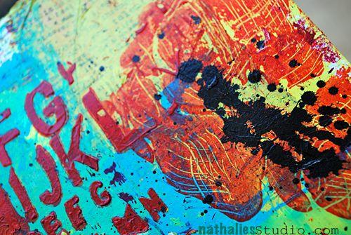 Sgraffito 4, 2013, Nathalie's Studio. Use of Liquitex Flat Splatter Brush and Liquitex Heavy Body Paint.