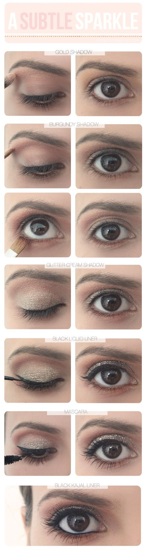 glitter eye shadow tutorial - Click image to find more Hair & Beauty Pinterest pins