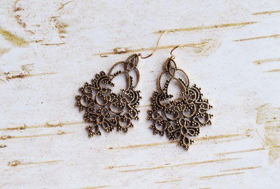 SALE Antique Gold Lace Dangle Earrings Bohemian Drop