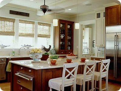 pretty wood kitchen cabinetsKitchens Spaces, Dark Cabinets, Modern Kitchens, Windows Treatments, Kitchens Cabinets, White Cabinets, White Wall, Kitchen Cabinets, White Kitchens