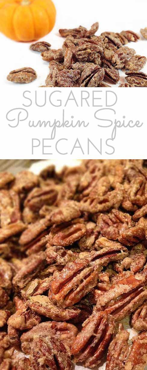Pumpkin Spice Sugared Pecans. Sweet and crunchy. Perfect for snacking or…