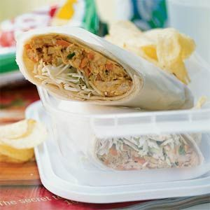 Chicken Saté Wraps....Coconut milk, curry powder, and peanut butter bring Indonesian flair to a quick-fix sandwich.