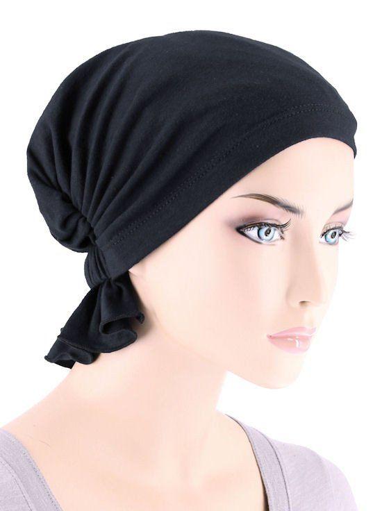 ABBEY-467#The Abbey Cap in Raven Black Cotton Knit