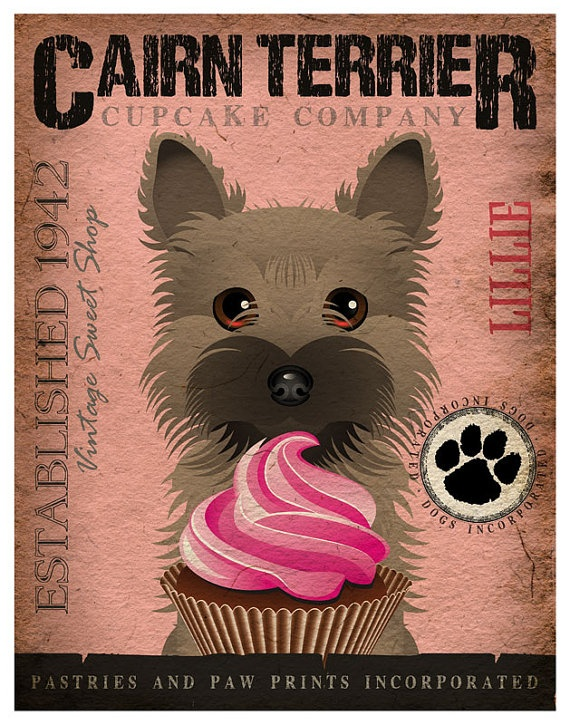 Cairn Terrier Cupcake Company Original Art by DogsIncorporated, $29.00