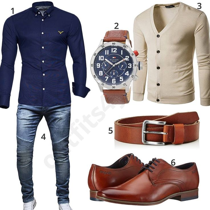 Elegantes Herren-Outfit mit blauem Kayhan Hemd, Tommy Hilfiger Chronograph und Ledergürtel, beiger Strickjacke, Merish Jeans und Bugatti Schuhen.